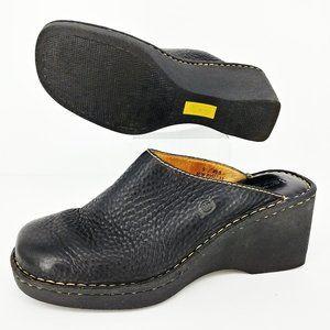 Born Black Pebbled Leather Clog Mules Sz 9